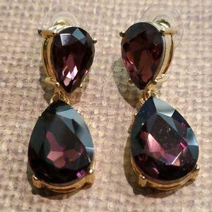 Amethyst Tone Crystal Drop Earrings